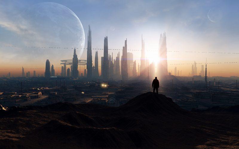 moon hanging over futuristic city